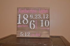 Birth Announcement Wood Sign - Distressed Wood Sign - Baby Wood Sign - Nursery - Wall Art. $35.00, via Etsy.