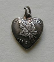 "Antique Canadian ""The Maple Leaf Forever"" Sterling Heart Charm, ""Jean"""
