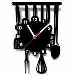 Özel Tasarım Mutfak Tipi Duvar Saati (SİYAH)