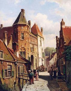Willem Koekkoek: Dutch Town Scene with Figures