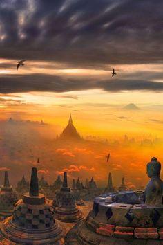 garywonghc:  Borobudur, orBarabudur, is a 9th-century Mahayana...