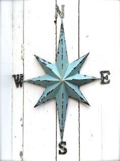 Nautical Wall Art Metal Compass Wall Art Nautical by honeywoodhome