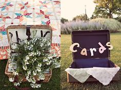 Close up of the aisle runner picnic baskets.  Vintage suitcase for cards.