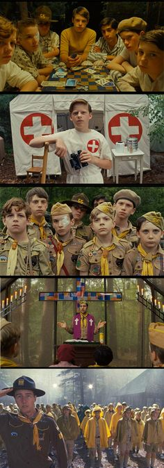 The scouts and scout masters. 'Moonrise Kingdom' (2012) Costume Designer: Kasia Walicka-Maimone
