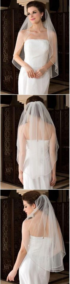 To veil or not to veil. If you are a traditionalist we say go for it! To add a bit of a modern look, choose a sheer elbow length veil to accentuate your dress and face.