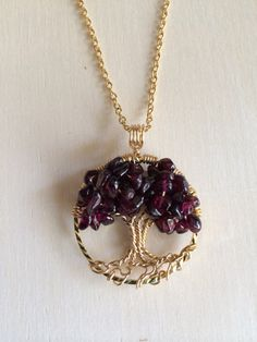 Tree Of Life Necklace Garnet Pendant On 14K Gold by Just4FunDesign, $27.00