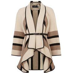 Karen Millen Fluid Stripe Cape Coat, Neutral (£235) ❤ liked on Polyvore featuring outerwear, coats, jackets, coats & jackets, tops, pink cape coat, short cape, short cape coat, short coat and striped coat
