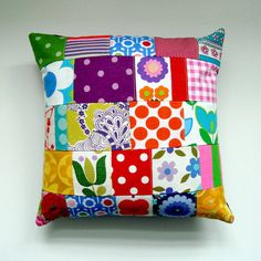 Cute Vintage Fabric Patchwork Pillow / Cushion by madebylisajane, £24.50