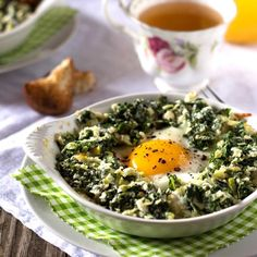 Baked Eggs with Kale and Leeks. An easy-to-make baked eggs with healthy vegetables like kale and leeks.