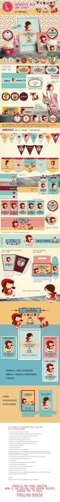 Kit imprimible Caperucita Roja Red Riding Hood #caperucita #caperucitaroja #littlered #littleredridinghood #kitimprimible #RedRidingHood