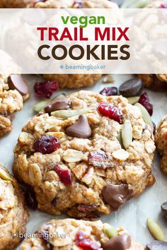 Chewy Vegan Trail Mix Cookies: an easy recipe for vegan trail mix cookies that are delightfully chewy and packed with healthy fruits, nuts and seeds! #Vegan #TrailMix #Cookies | Recipe at BeamingBaker.com Good Healthy Recipes, Delicious Vegan Recipes, Vegan Desserts, Free Recipes, Snack Recipes, Tasty, Trail Mix Cookie Recipe, Trail Mix Cookies, Healthy Fruits