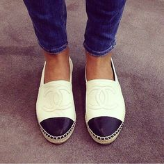 Channel espadrilles black and white shoes