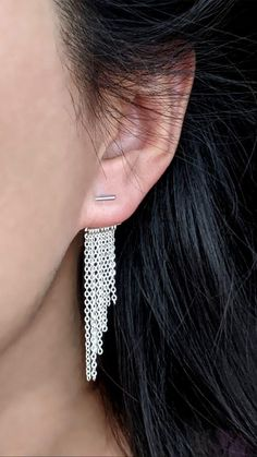 Watch how I came up with this tassel ear jacket. The best part is it'll go with most of the studs you might already own! . . . #earjacket #earjacketearrings #earjackets #fringeearrings #tasselearrings #chainearrings #frontbackearrings #tasselearring Bar Stud Earrings, Chain Earrings, Fringe Earrings, Tassel Earing, Double Sided Earrings, Front Back Earrings, Ear Jacket, Sterling Silver Earrings, Layering