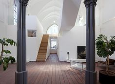 Originally built in 1870, the historical St. Jakobus Church in Utrecht, the Netherlands was converted into a spectacular home by ZECC Architects. The furniture and interior styling was done by Thomas Haukes of (springers) wonen. Photo courtesy of ZECC Architects.
