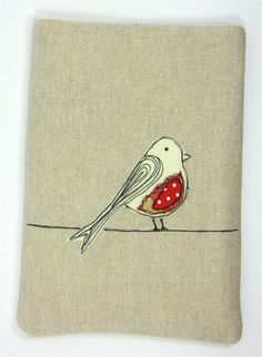 iPad Mini Case or Kindle Case Red Bird Applique Freehand Machine Embroidery, Free Motion Embroidery, Free Machine Embroidery, Free Motion Quilting, Fabric Cards, Fabric Postcards, Bird Applique, Embroidery Applique, Applique Designs