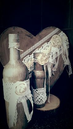 Vintage lace hand painted bottles & heart plaque in gold creams with rolled roses wedding home decor