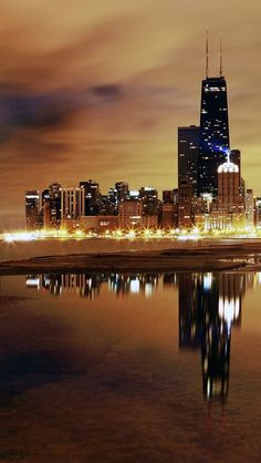 Skyline of Chicago by night. #concretejungle #cityscapes #citylights http://www.pinterest.com/TheHitman14/concrete-jungle-%2B/