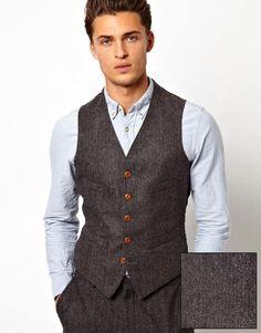 ASOS Slim Fit Waistcoat In Herringbone  Great for the groom/best man/ushers!