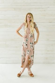 Floral High Low Wrap Dress- Taupe