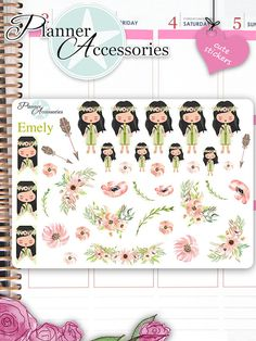 Girl Stickers Cute Stickers Boho Stickers von EmelysPlannerShop