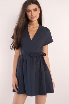 <span class='item-color-name'>Elaine Linen Navy Wrap Skater Dress</span>