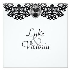 White & Black Ornate Heart Pendant Wedding Personalized Invites
