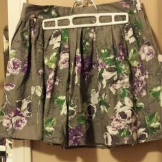 Cute summer skirt Grey with purple and white flowers machine wash cold water. Lux Skirts Mini