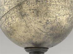 Celestial Sphere, 1st half of the 14th century? Base Width: 0.108 m. Weight: 3.2 kg., PERIOD 14th Century PRODUCTION SITE: Iran (original) TECHNICAL / MATERIAL: incised, brass, molded (technical) Height: 0.433m Diameter: 0.21m LOCATION: Paris, Louvre AO825 Photo by Louvre Museum, Dist. RMN / Raphael Chipault