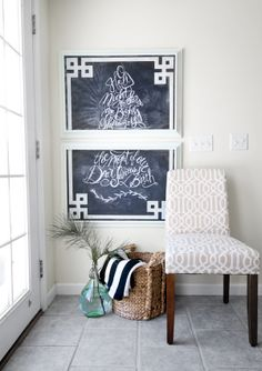 Take a couple of chalkboards, pop them in matching frames, and stencil on a greek key design- turns a chalkboard into really cool and chic chalkboard wall art!