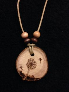 Dandelion-Wood-Burned-Necklace- handmade by Sandy Blanc www.circlesoflife.weebly.com