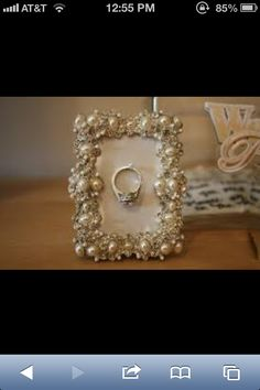 What a cute bridal gift! A framed ring holder! Fancy! :)