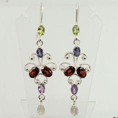 925 Sterling Silver Real GARNET & Other Gemstones Indian Jewelry Pretty Earrings #Unbranded #DropDangle