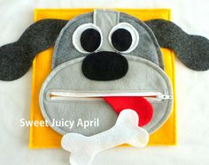 Monkey Zipper Mouth Quiet Book Page by SweetJuicyApril on Etsy                                                                                                                                                                                 More