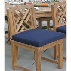 Willow Creek Designs Outdoor Sunbrella Dining Chair Cushion Fabric: Cant Navy Classic