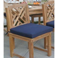 Willow Creek Designs Outdoor Sunbrella Dining Chair Cushion Fabric: Mineral Blue