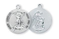 HMH Religious St Michael Archangel w/Guardian Angel Sterling Silver Medal Necklace Chain Sterling Silver Chains, Sterling Silver Pendants, Silver Jewelry, St Michael Medal, Saint Michael, St Michael Pendant, Catholic Jewelry, Silver Rounds, Hand Engraving
