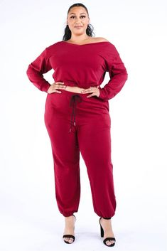 Imported medium weight jersey knit crop length top with long sleeve Polyester Spandex Burgundy KGL Casual Crop Jogger Set split Item Measurements: SIZE SIZE Measurements: SIZE SIZE split split Plus Size Two Piece, Plus Size Casual, Tops For Leggings, Plus Size Fashion, Xl Fashion, Steampunk Fashion, Gothic Fashion, Lounge Wear, Moda Femenina