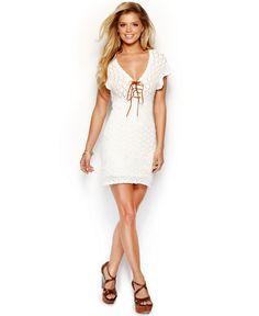 GUESS Flutter-Sleeve Lace Up Crochet Dress - Dresses - Women - Macy's