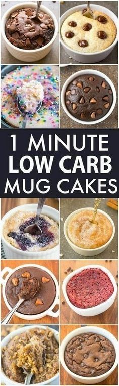 Low Carb Healthy 1 Minute Mug Cakes, Brownies and Muffins (V, GF, Paleo)- Delicious, single-serve desserts and snacks which take less than a minute! Low carb, sugar free and more with OVEN options too! vegan, gluten free, paleo recipe- #mugcake #healthy #