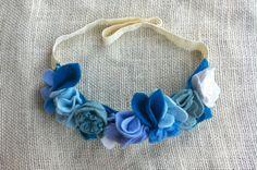 Felt Flower Crown // Blue // First Birthday Crown // Snow Queen
