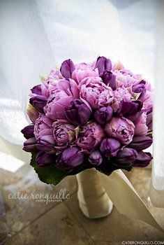 purple peonies and tulips