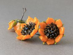 Lampwork Sunflower Bead Handmade Artisan by JewelryBeadsByKatie