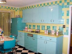 Blue And Yellow Retro Kitchen Style With Pink Canisters  Retro Kitchen Style