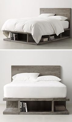 The grey finish of this storage bed and the shapes of the compartments give it a sort of industrial feel and make it look like it's made of over-sized concrete blocks, even though it's made from wood.