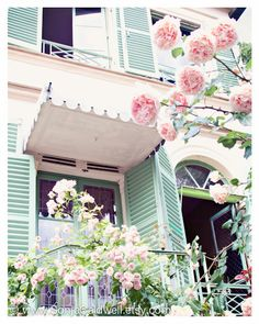 "Parisian House, pink, sea foam, mint green, roses, Paris, leaded glass, French  8"" x 10""  Original Signed Fine Art Photograph. via Etsy."