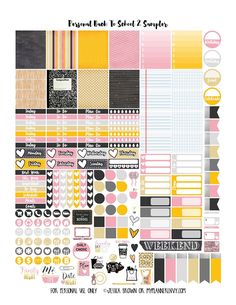Free Printable Back To School 2 Sampler Planner Stickers  {PDF, JPG and Studio3.  For The Happy Planner and Erin Condren} from myplannerenvy.com