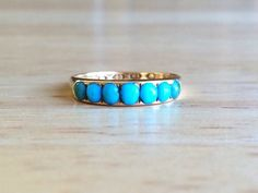 Turquoise Wedding Band - Vintage Art Deco 18kt Yellow Gold Ring - Size 5 1/2 Sizeable Alternative Engagement Antique Boho Fine Jewelry