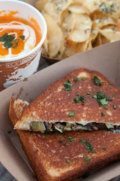 The Papi Queso food truck roams the city, serving up inventive grilled cheese sandwiches like this leek-and-mushroom version.