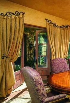 Skies the limit when choosing ways to hang your custom window treatments! Interior Exterior, Interior Design, Rideaux Design, Tuscan House, Drapes Curtains, Valances, Custom Window Treatments, Arched Windows, Window Styles