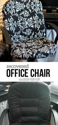 How to recover a boring office chair covered leather office chair, boring office chair, rolling chair, chair recover Recover Office Chairs, Home Office Chairs, Home Office Furniture, Home Office Decor, Recover A Chair, Bar Furniture, Furniture Layout, Modern Furniture, Furniture Design